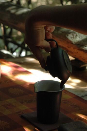 Nalewanie herbaty z czajniczka do dzbanka