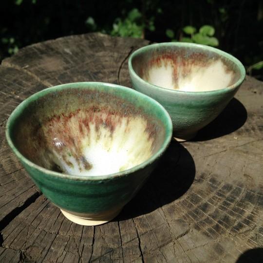Własnoręcznie wykonane czarki na plenerze ceramiczno-herbacianym w 2015 roku, fot. A.Włodarczyk