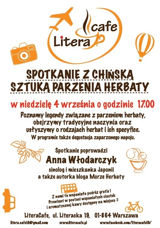 Herbata w Litera Cafe - plakat